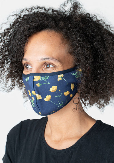3 Layer Navy Buttercup Print Reversible Face Cover (Laura)