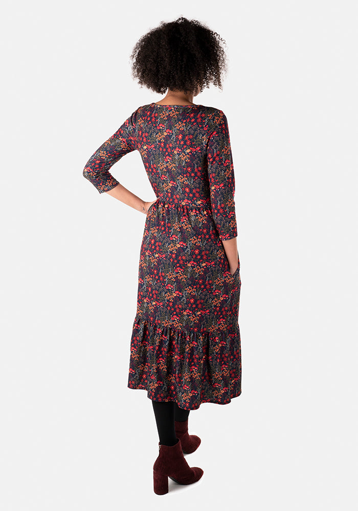 Octavia Orange & Navy Floral Midi Dress