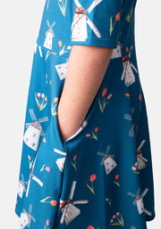 Tamara Children's Windmill Print Dress