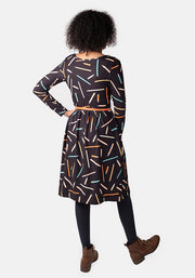 Paris Pencil Print Dress