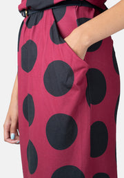 Patsy Burgundy & Black Spot Blouson Dress