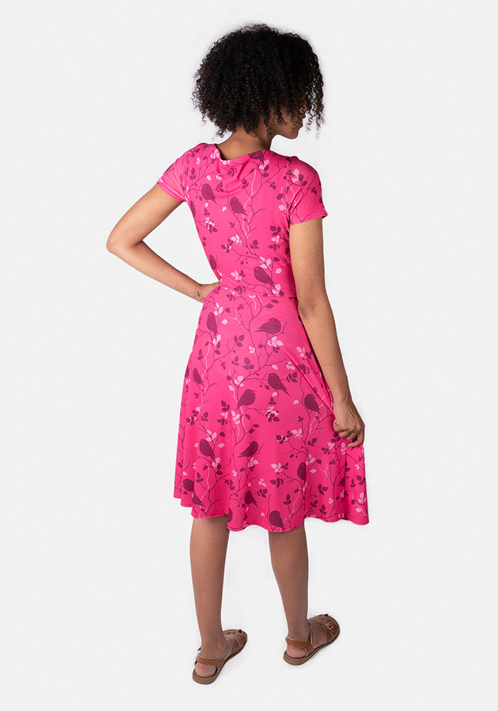 Rosalee Pink Bird Print Dress