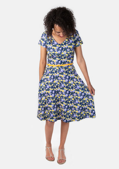 Evelyn Daffodil & Crocus Print Dress