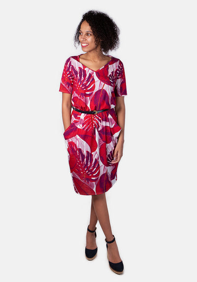 Rhoda Red Leaf Print Dress