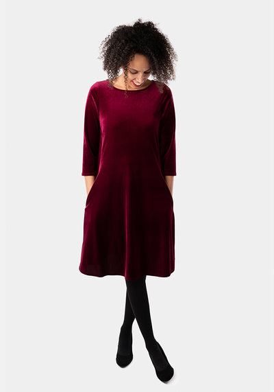 Rayne Wine Velvet Dress
