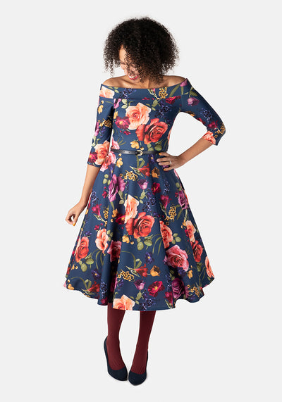 Reagan Large Vintage Floral Swing Dress