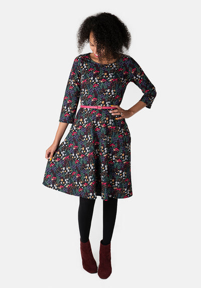 Samantha Black & Pink Floral Dress