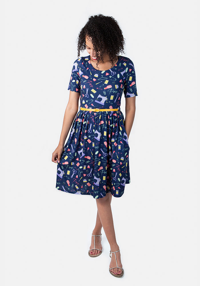 Lorna Sewing Print Dress