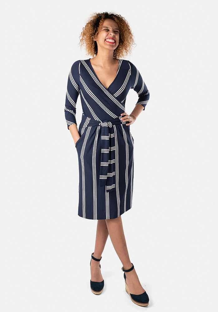 Shanice Navy Stripe Dress