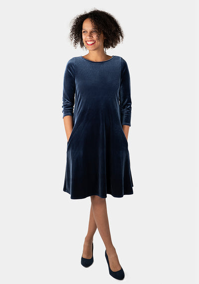 Rayne Blue Velvet Dress
