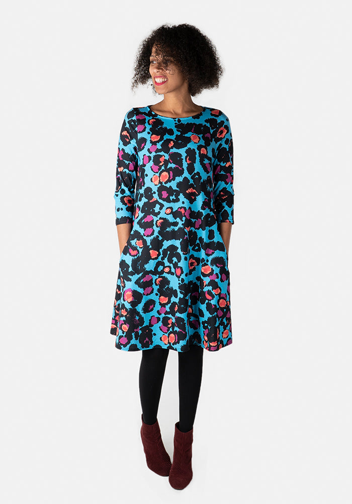 Stevie Blue Animal Print Trapeze Dress