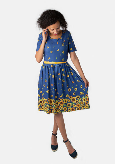 Summer Sunflower Print Dress