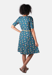 Remi Teal Bird Print Dress