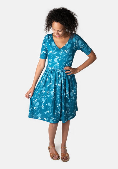 Georgia Blue Bird Print Dress