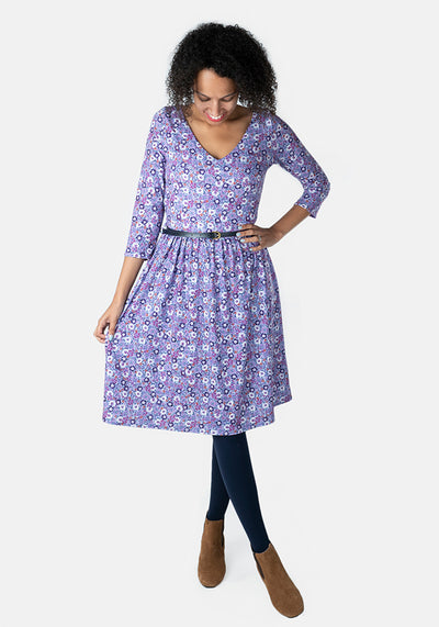Virginia Purple Ditsy Floral Dress
