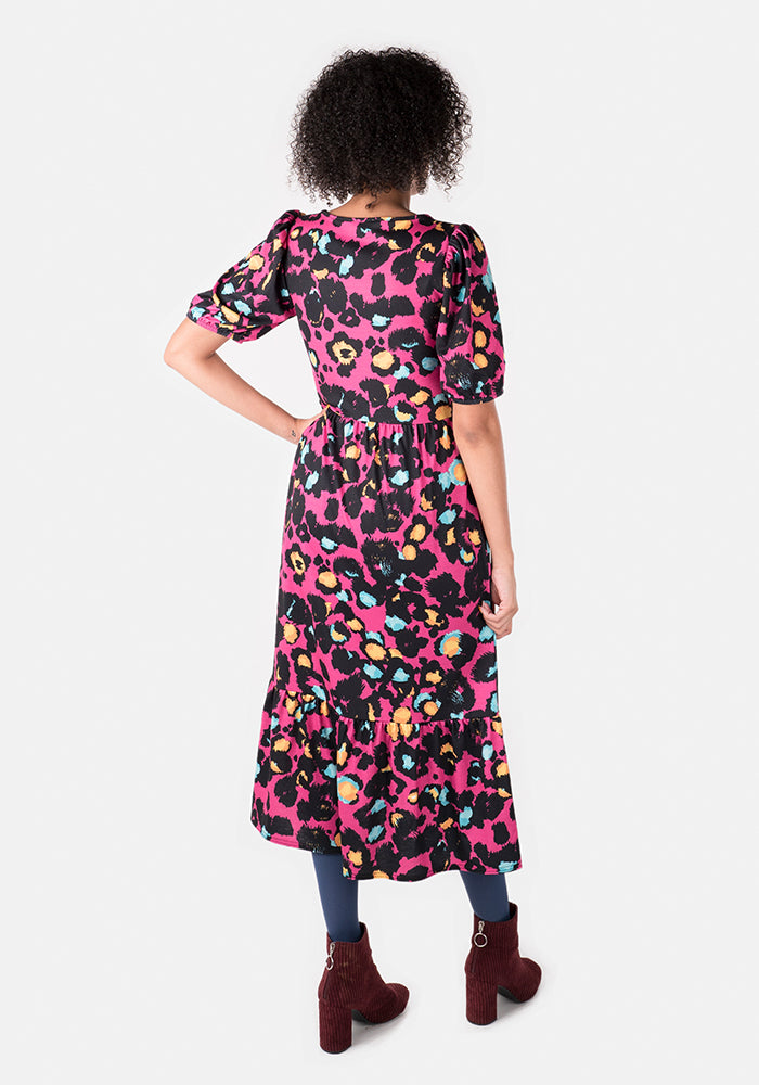 Whitney Pink Animal Print Midi Dress
