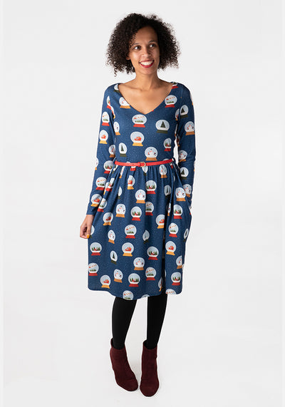 Winter Snow Globe Print Dress