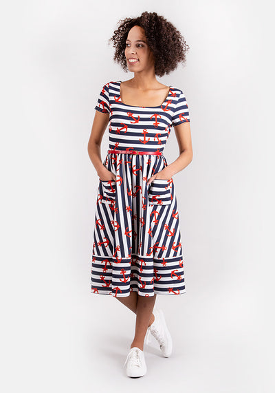 Anne Navy Stripe Anchor Dress