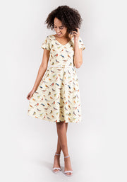 Bryony Yellow Bird Print Dress