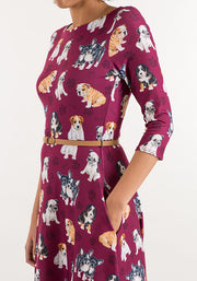 Barbara Puppy Print Dress Wine