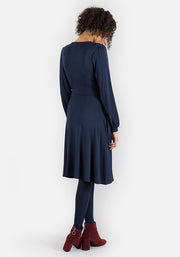 Sarah Navy Mock Wrap Dress