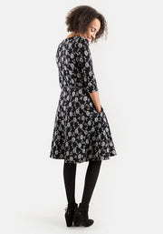Mia Floral Jacquard Black & White Dress