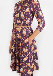 Vicky Purple Fox Print Dress