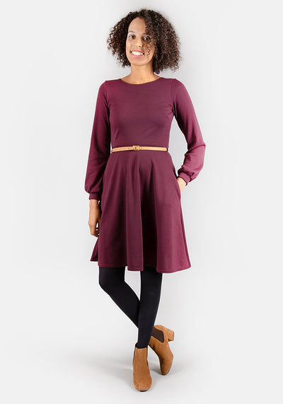 Caroline Wine Long Sleeve Dress