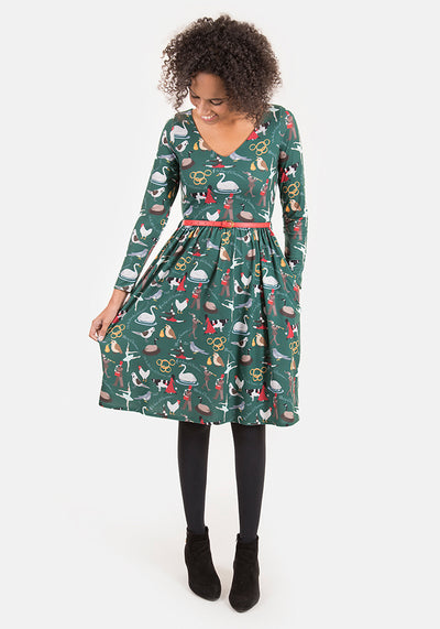 Carol 12 Days Of Christmas Print Dress