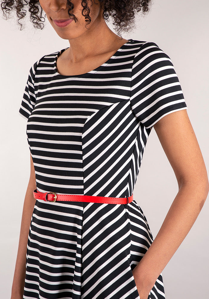 Suki Black & White Stripe Dress