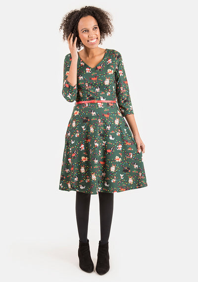 Danielle Dog Party Print Dress