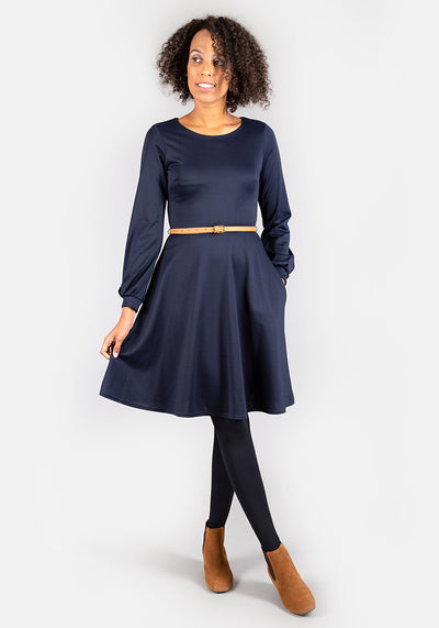 Caroline Navy Long Sleeve Dress