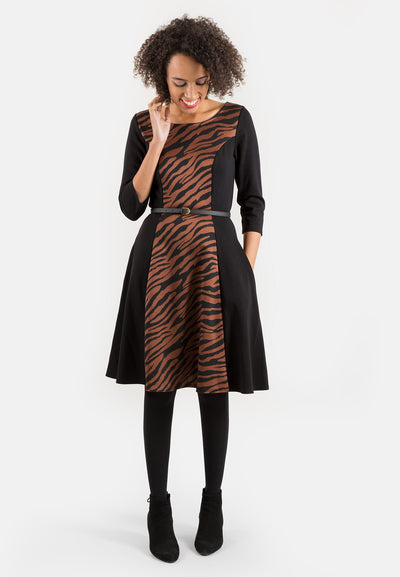 Zelda Rust & Black Panel Dress