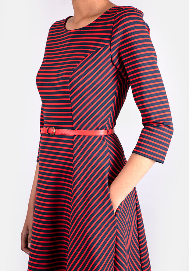 Saskia Red & Navy Stripe Dress