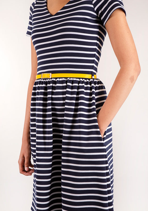 Selina Navy & White Stripe Dress