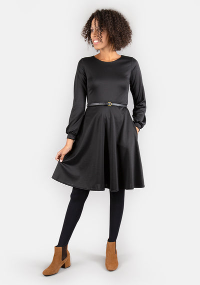 Caroline Black Long Sleeve Dress