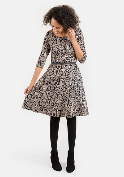Mia Scroll Floral Jacquard Cashmere & Black Dress