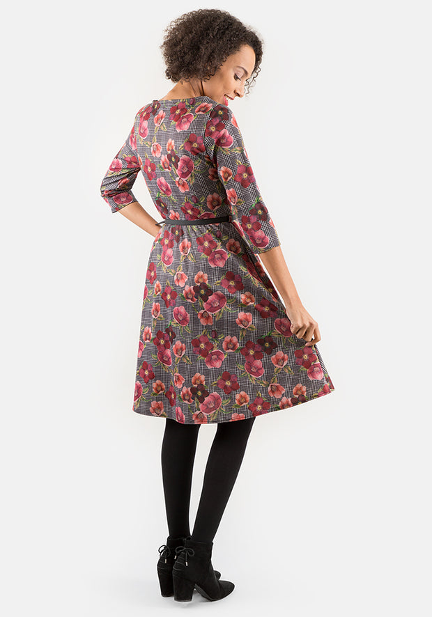 Marion Check Floral Print Dress