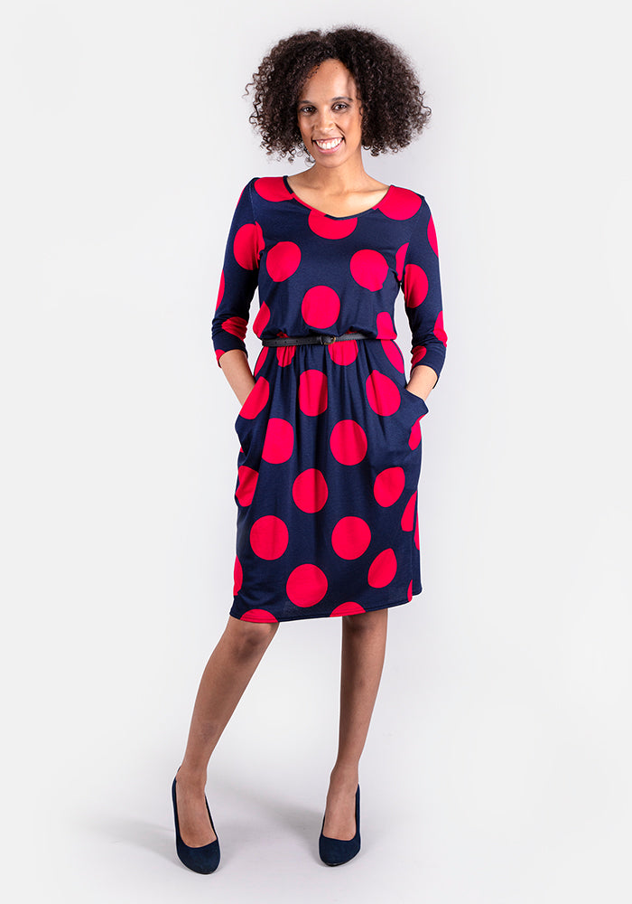 Sabrina Spot Print Blouson Dress