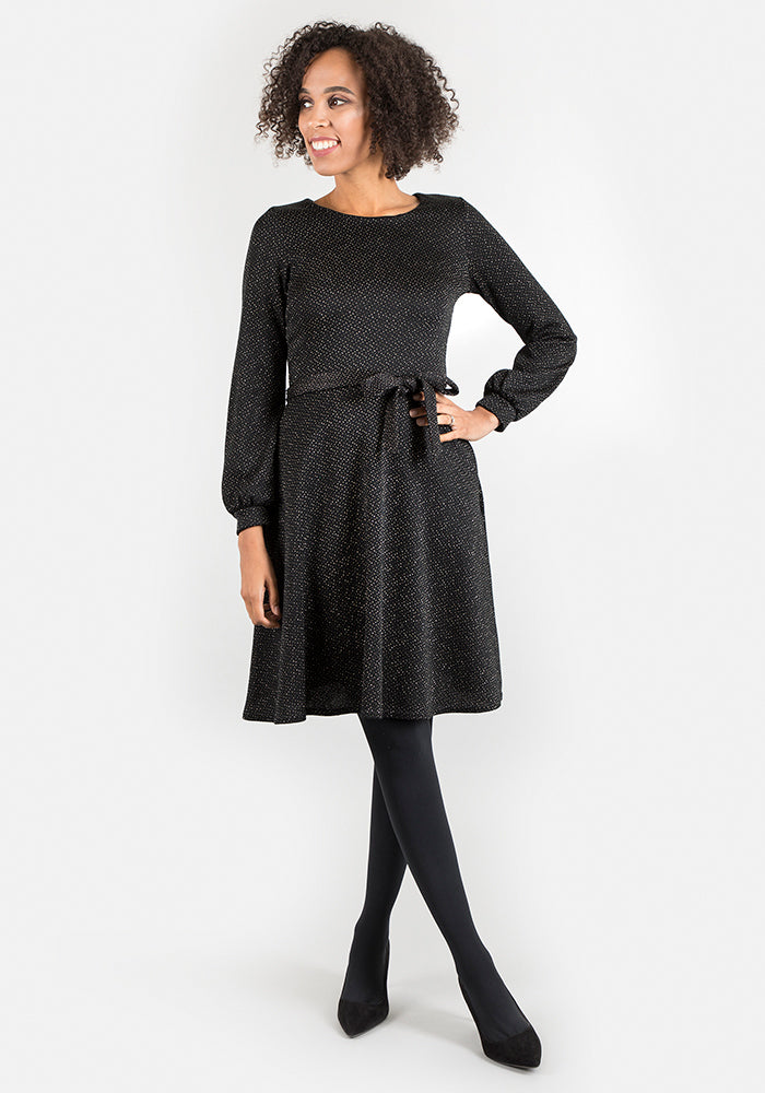 Lainey Full Sleeve Black Sparkle Dress