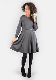 Caroline Charcoal Long Sleeve Dress