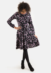 Janice Mauve Animal Print Dress