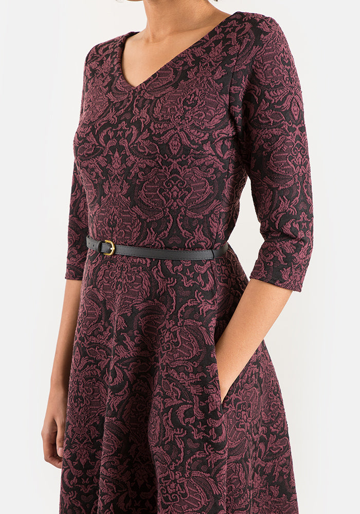 Gabrielle Wine & Black Jacquard Dress