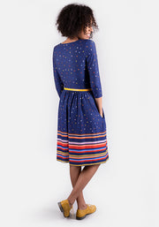 Nancy Navy Spot Border Print Dress
