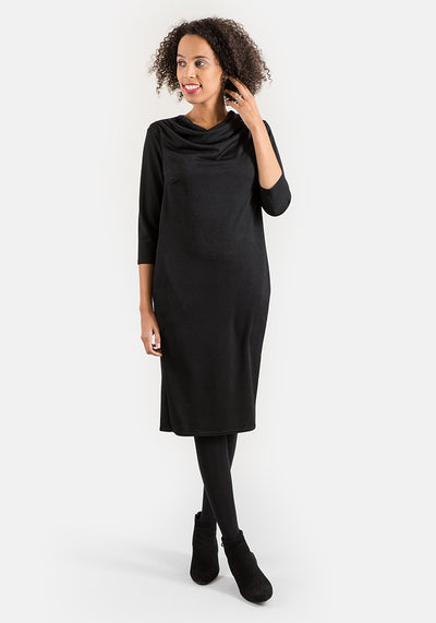 Cath Black Cowl Neck Dress