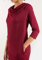 Cath Wine Cowl Neck Dress