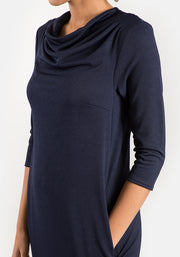Cath Navy Cowl Neck Dress