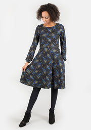 Pea Peacock Feather Print Dress
