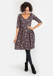 Winifred Cat On Line Print Dress