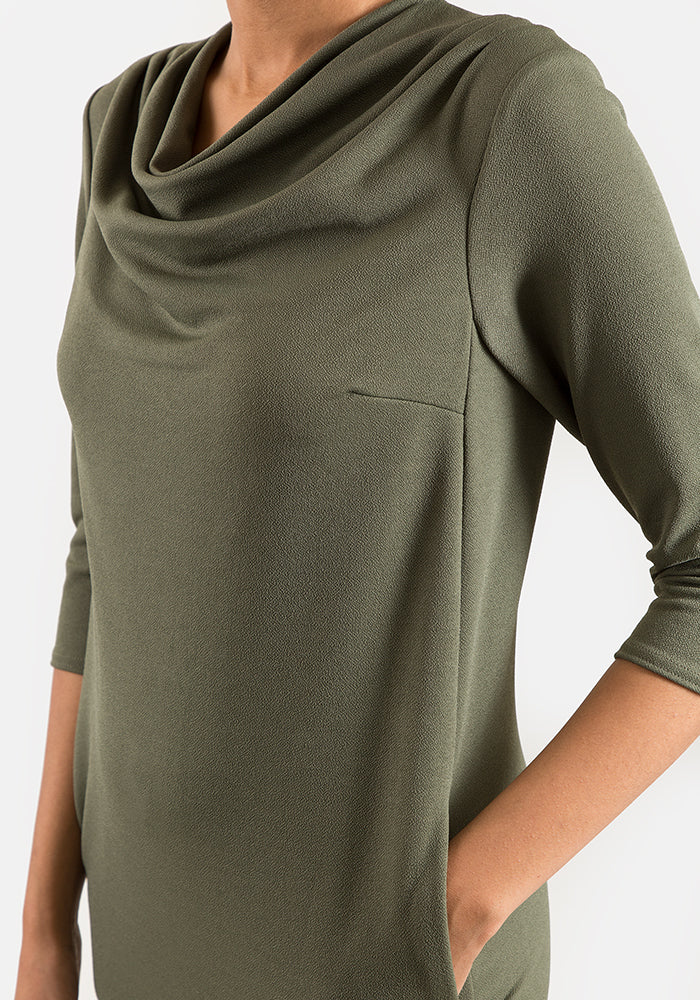 Cath Khaki Cowl Neck Dress